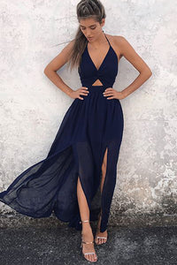 A-Line Halter Navy-Blue Chiffon Backless Prom Dresses, V-neck Prom Gowns, PL143