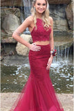 Burgundy Two Piece Lace Tulle Cross Back Mermaid Prom Dresses with Beading, PL145