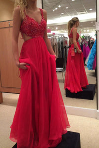 RChiffon Backless Spaghetti Strap Prom Dress with Beading, PL146