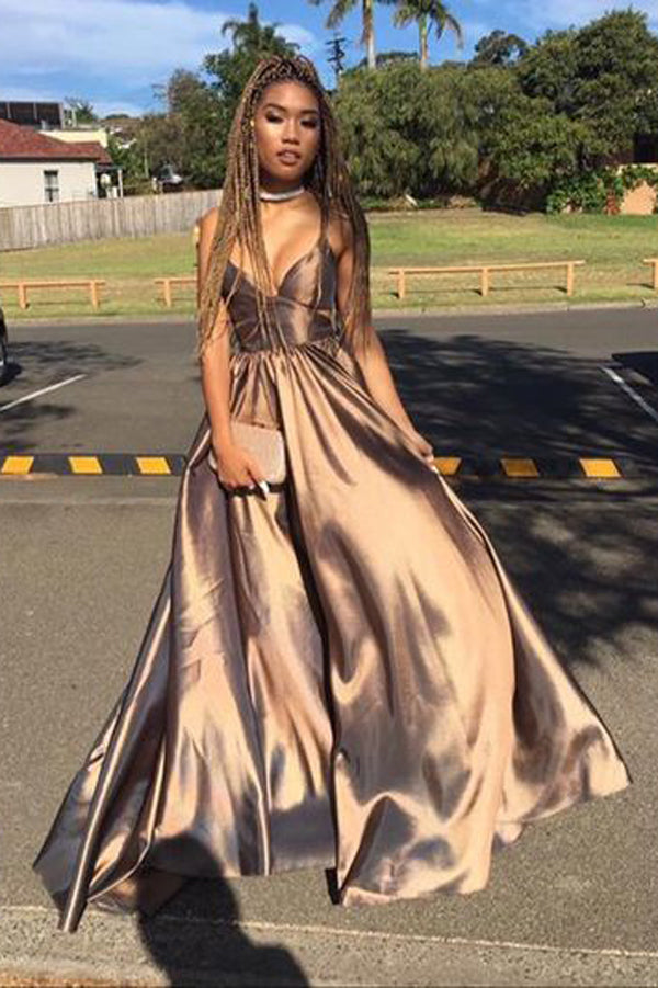 Simple V neck Long Prom Dress, Evening Dresses, Party Dresses for Teens, PL147