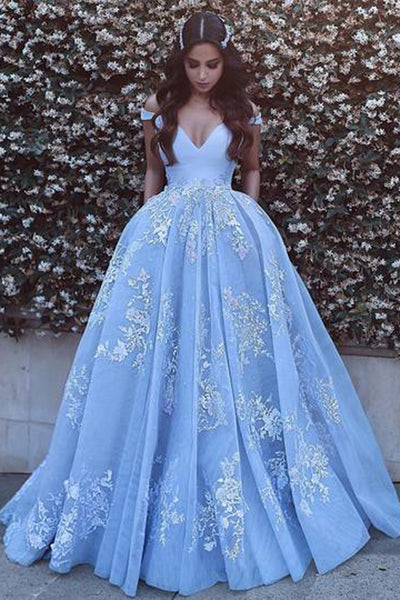Light Blue Off Shoulder Tulle Ball Gowns Prom Dresses with Lace Appliques, PL148