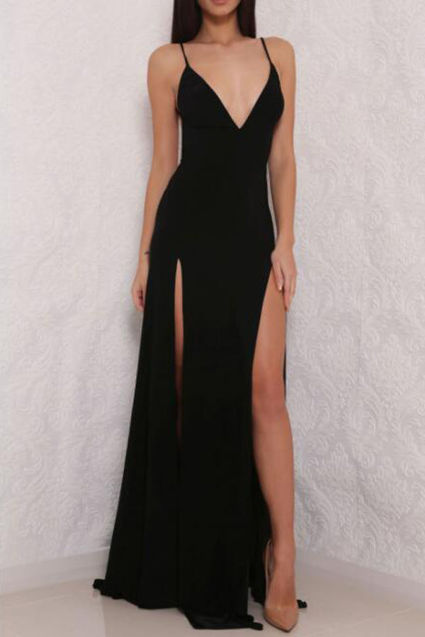 Sexy Simple Black Spaghetti Strap V neck Open Back Prom Dress with Side Slit, PL150