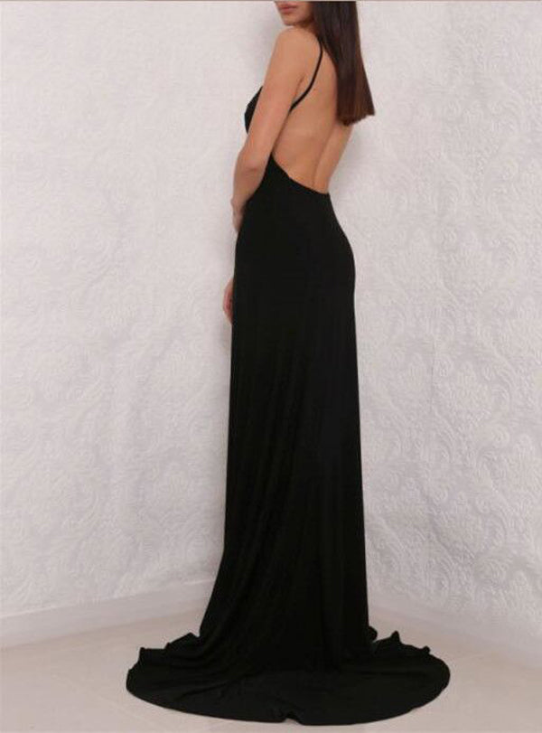 f16fb43d94d6 ... Sexy Simple Black Spaghetti Strap V neck Open Back Prom Dress with Side  Slit, PL150 ...