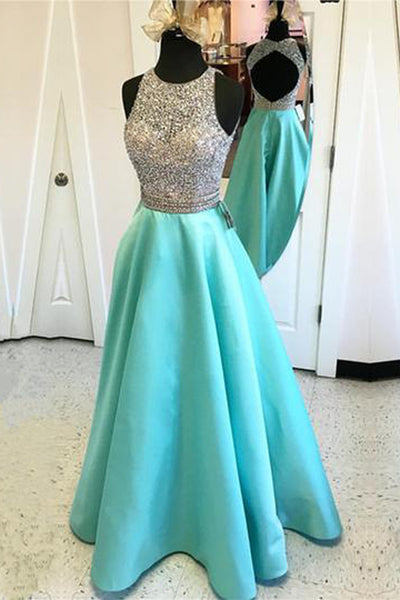 Satin Open Back Jewelry Neck Sequins Beaded Long  Prom Dresses, PL151
