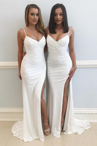 Long Slit Mermaid Spaghetti Straps V Neck Prom Dresses,White Party Dresses, PL152