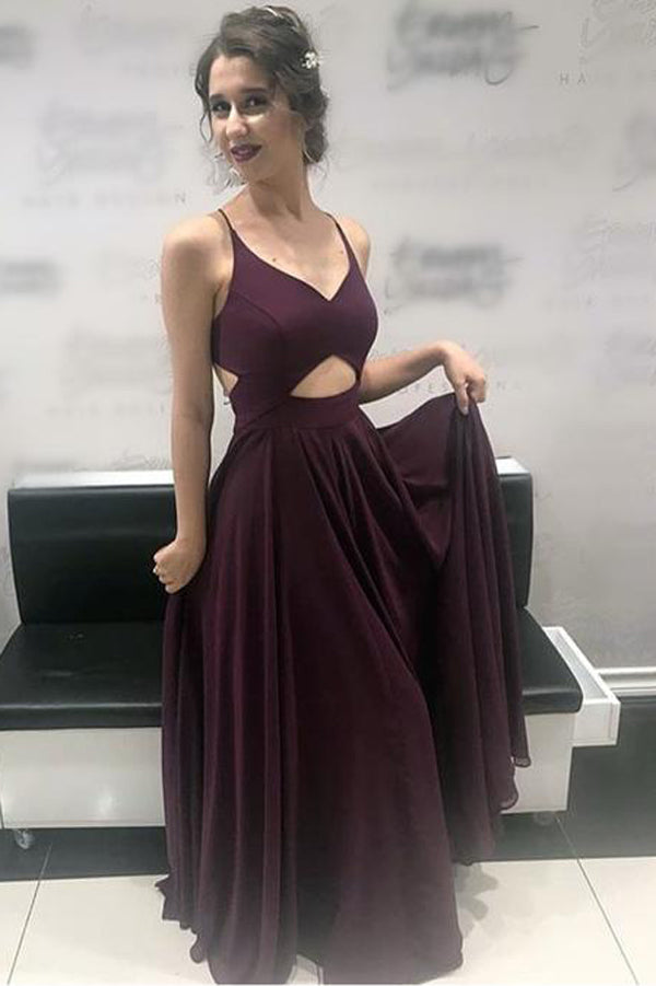 Long Chiffon V Neck Cross Back Prom Dresses, Formal Evening Gowns, PL153