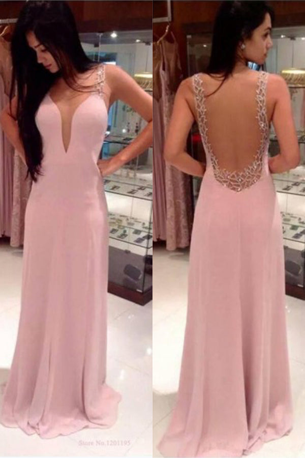 Pink Chiffon A-Line V-neck Sweep Train Prom Dress with Beading, PL154