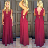 Red Sexy A-Line V-neck Chiffon Floor-Length Prom Dress, Party Dresses, PL155