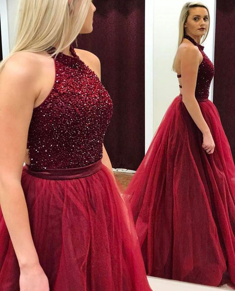 Luxurious Red High Neck A-Line Sleeveless Long Prom Dress with Beading, PL157