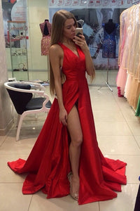 Sexy Red A-Line V-Neck Satin Prom Dresses Long with Side Slit, PL158