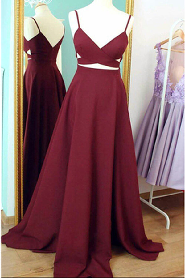 Cheap Burgundy Spaghetti Straps Long Prom Dress Evening Dress, PL159