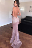 Backless Sequined Sweep Train Spaghetti Straps Prom Dress,Formal Dress, PL160