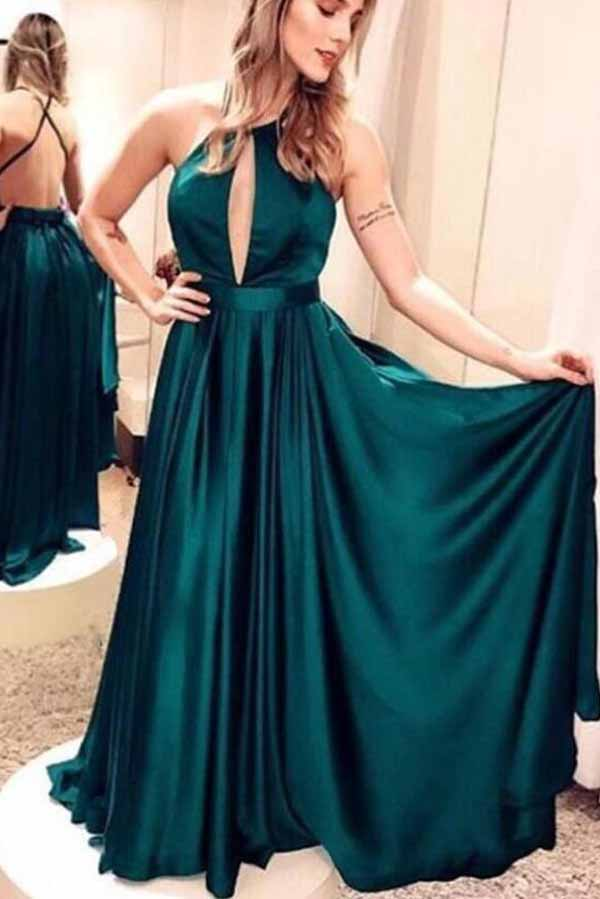 Satin Cross Back Dark Green Long Prom Dresses, Sexy Party Dresses, PL164