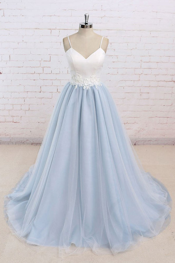 Tulle Baby Blue Long Flower Prom Dress With White Top,Evening Dress ...