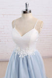 Tulle Baby Blue Long Flower Prom Dress With White Top, Simple Evening Dress, PL165