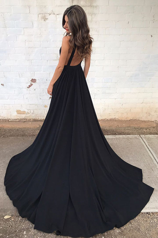 Black Chiffon Deep V-Neck A-Line Court Train Sleeveless Backless Prom Dress, PL167
