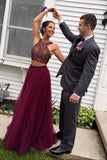 Burgundy Tulle Open Back Two-pieces Halter Long Prom Dresses With Beading, PL168