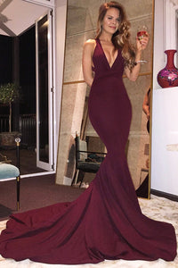 Burgundy Satin Criss Cross Straps Court Train Mermaid Deep V-Neck Prom Dress, PL169