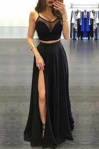 Black Scoop Neck A-line Floor-length Chiffon Two Piece Prom Dresses, PL170