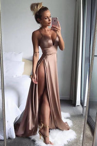 High Side Split Sexy Spaghetti Straps Long Prom Dresses, Formal Dresses, PL171