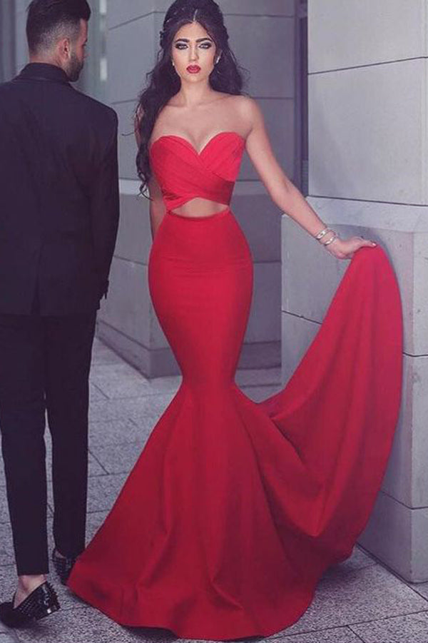 Red Sweetheart Mermaid New Style Long Prom Dresses,Evening Dress, PL174