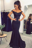 Dark blue Mermaid Off Shoulder Lace Sequined Prom Dress with Beading, PL175