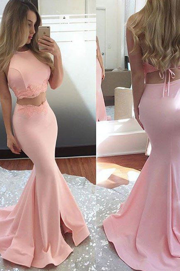 Pink Satin Two Piece Sleeveless Long Prom Dress,Sexy Mermaid Party Dress, PL177