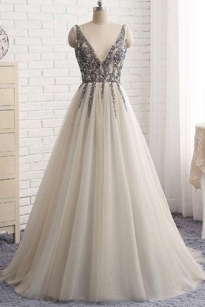 Sweet 16 A Line V-Neck Tulle Long Prom Dresses with Beading, Party Dress, PL178