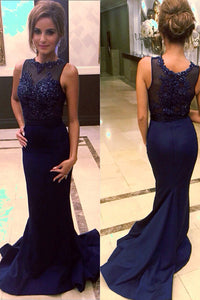 Navy Blue Satin Beaded Prom Dresses with Sweep Train,Mermaid Prom Gowns, PL179