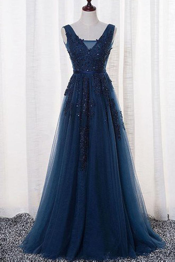 64275155d0308 Gorgeous Sleeveless A Line V-neck Tulle Long Prom Dress with Appliques,  PL180