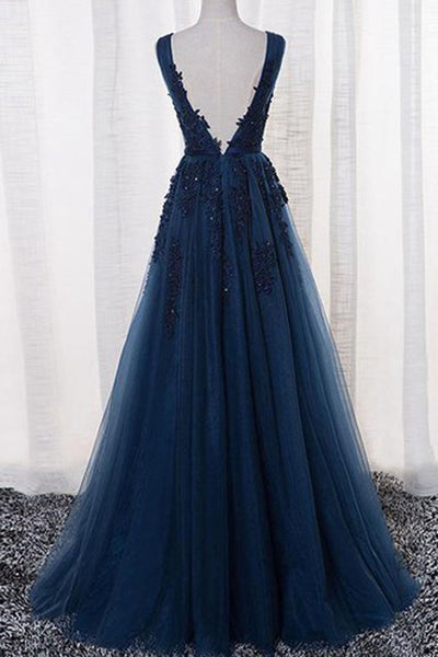 Gorgeous Sleeveless A Line V-neck Tulle Long Prom Dress with Appliques, PL180