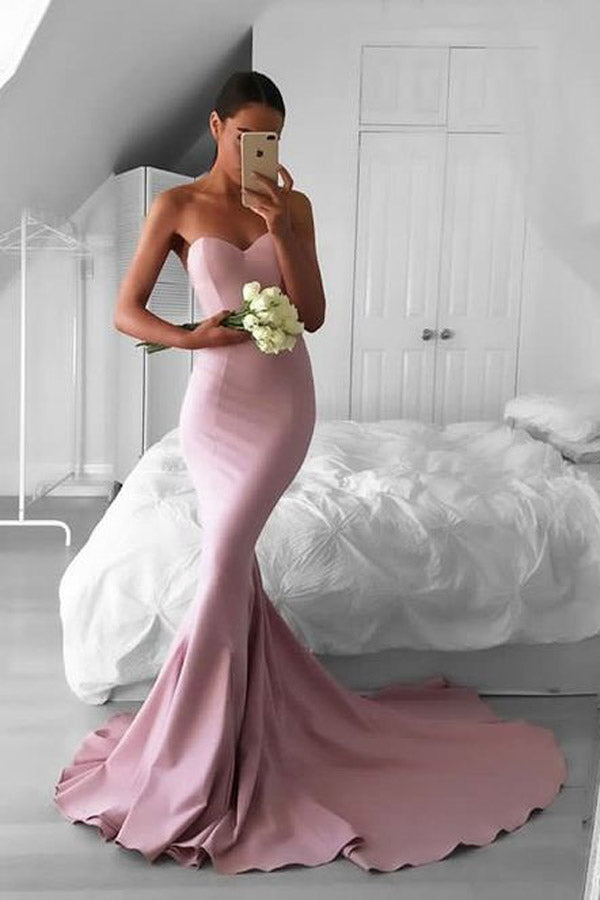 Glamorous Pink Mermaid Sweetheart Prom Dress with Sweep Train, PL183