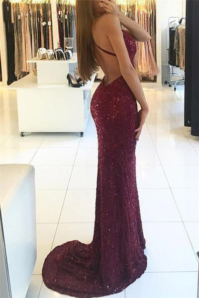Shiny Mermaid Burgundy V-neck Straps Backless Sequined Prom Dresses, PL185