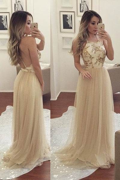 Spaghetti Strap Tulle A line Sleeveless Long Prom Dress with Beads, PL186