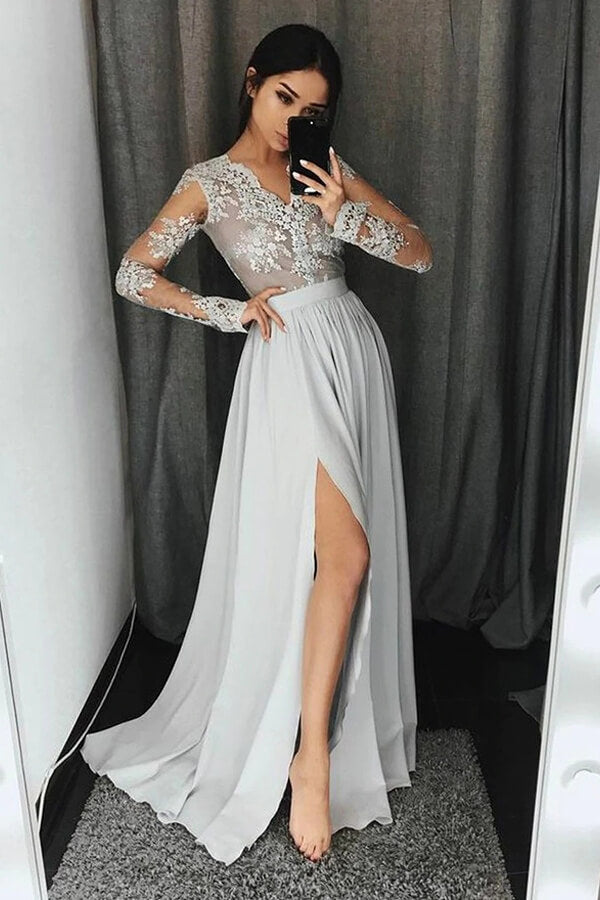Chiffon V Neck Long Sleeves Side Slit Prom Dresses with Beading -PL187 | prom dresses | evening dresses | formal dresses | party dresses | prom gowns | party dresses online | Promnova