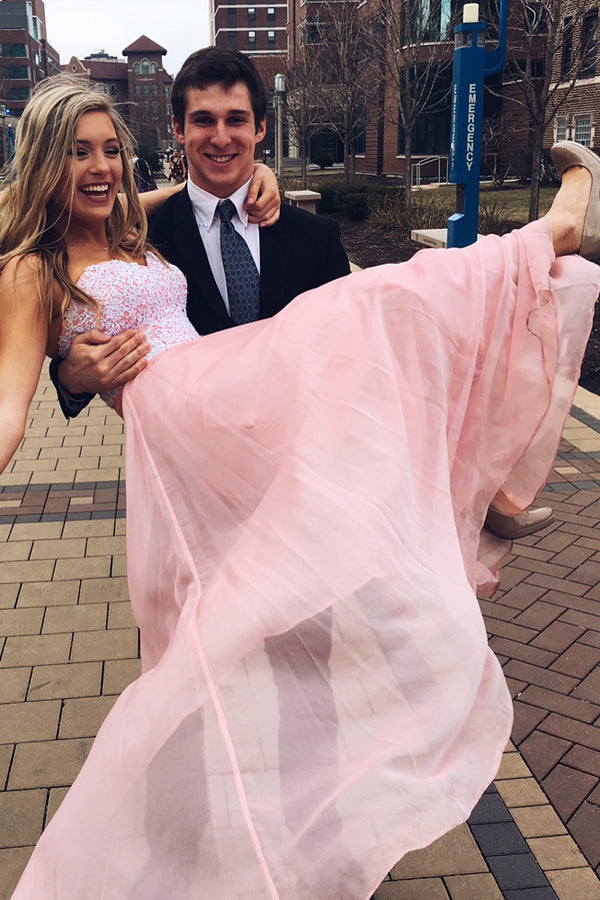 Pink Chiffon Backless Sweetheart Cute Long Prom Dress Formal Dress -PL188