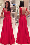 Red Chiffon Open Back Floor Length Long Prom Dress Evening Dress -PL189