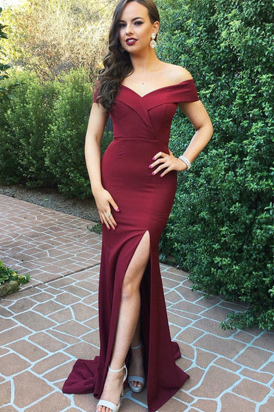 Charming Off Shoulder Mermaid Long Prom Dresses with Slit -PL190