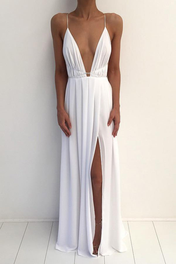 Simple White V-neck Spaghetti Strap Prom Dress With Front Split PL193
