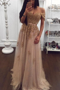 Gold Lace Tulle Beaded Sweetheart Off Shoulder Prom Dress Evening Gowns PL195