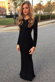 Scoop Neck Satin Floor Length Black Long Sleeve Open Back Prom Dress -PL196
