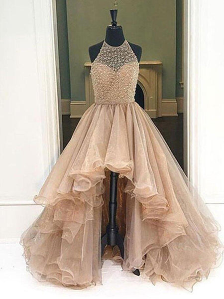 Chic Halter Asymmetrical Tulle Long Prom Dresses Evening Dress PL197