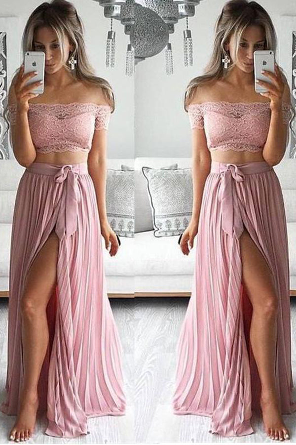 Two Piece Lace Sexy Off Shoulder Long Prom Dress Evening Dress with Side Slit  PL198