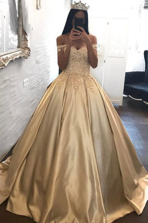 70f1c21e18e9 Ball Gown Off-the-shoulder Satin Prom Dress Evening Dress With Appliques  PL199 ...