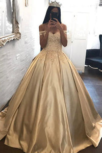 Ball Gown Off-the-shoulder Satin Prom Dress Evening Dress With Appliques PL199