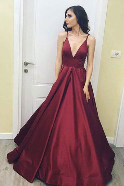 Simple Burgundy V neck Long Prom Dress, Burgundy Evening Dress PL206