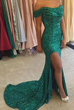 Green Off Shoulder Sequin Side Slit Long Prom Dress With Sweep Train, PL207