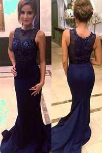 Navy Blue High Neck Beaded Mermaid Prom Dresses with Sweep Train PL208