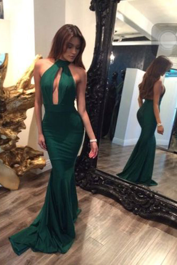 Green High Neck Mermaid Backless Long prom dresses with Sweep Train PL209