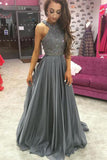 Chiffon Grey Rhinestone Beaded A-line Top Dark Long Prom Dresses PL210